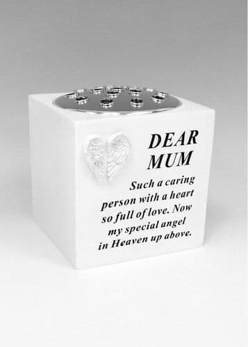 Mum white angel wings rose bowl with silver lid.