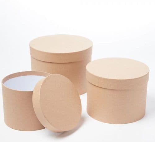Natural Kraft Symphony Hat Boxes (Lined) - Set of 3