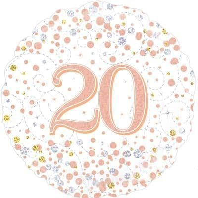 Oaktree 20th Sparkling Fizz Birthday White & Rose Gold Holographic