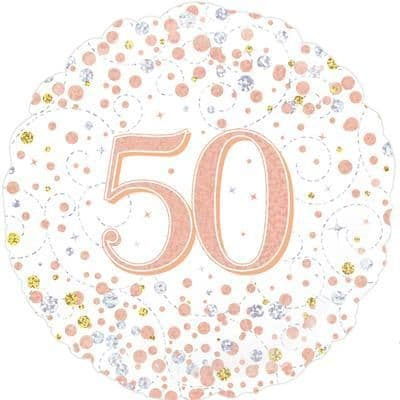 Oaktree 50th Sparkling Fizz Birthday White & Rose Gold Holographic