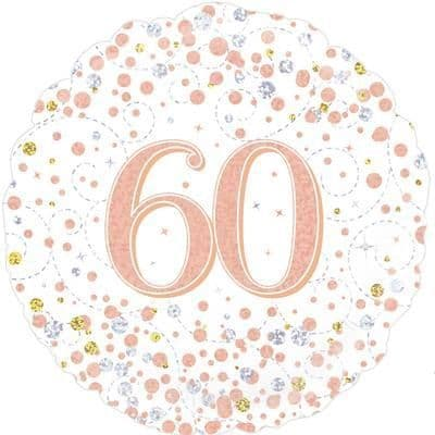 Oaktree 60th Sparkling Fizz Birthday White & Rose Gold Holographic