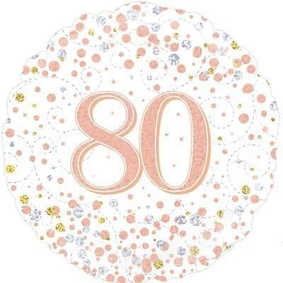 Oaktree 80th Sparkling Fizz Birthday White & Rose Gold Holographic