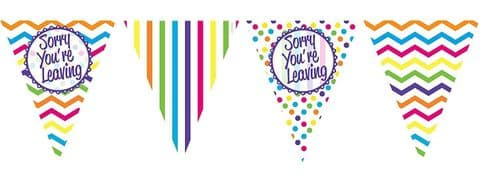 PAPER FLAG BUNTING 12FT SORRY YOU'RE LEAVING