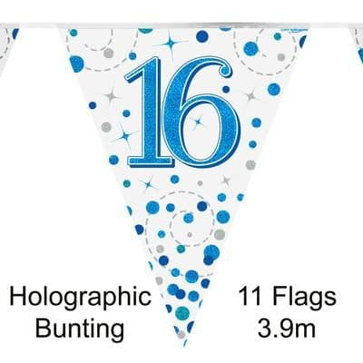 Party Bunting 16th Sparkling Fizz Birthday Blue Holographic 11 flags 3.9m
