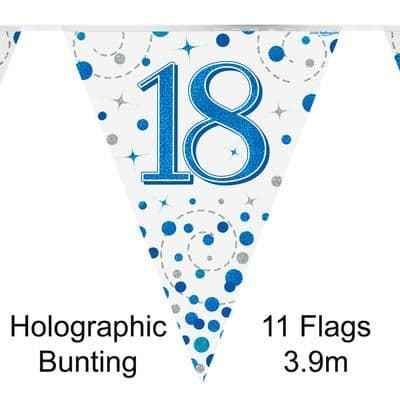 Party Bunting 18th Sparkling Fizz Birthday Blue Holographic 11 flags 3.9m