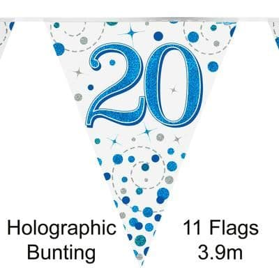 Party Bunting 20th Sparkling Fizz Birthday Blue Holographic 11 flags 3.9m