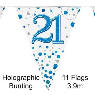 Party Bunting 21st Sparkling Fizz Birthday Blue Holographic 11 flags 3.9m