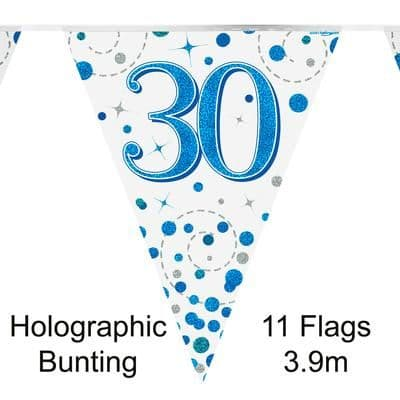 Party Bunting 30th Sparkling Fizz Birthday Blue Holographic 11 flags 3.9m