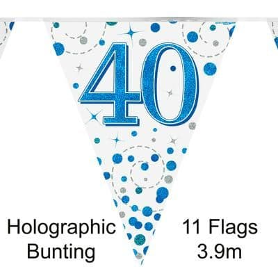 Party Bunting 40th Sparkling Fizz Birthday Blue Holographic 11 flags 3.9m