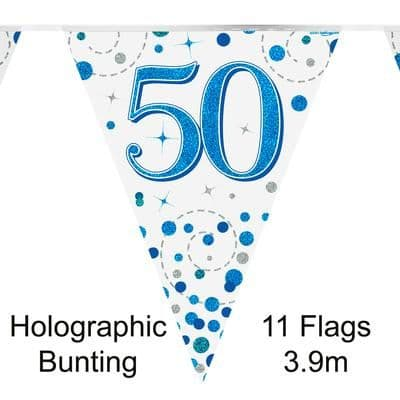 Party Bunting 50th Sparkling Fizz Birthday Blue Holographic 11 flags 3.9m