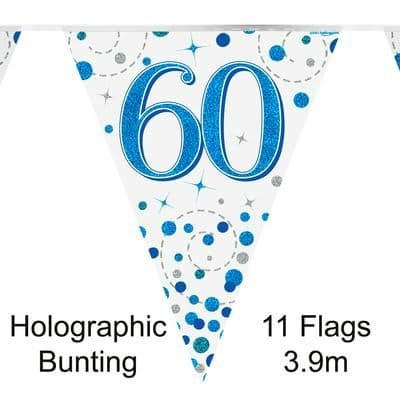 Party Bunting 60th Sparkling Fizz Birthday Blue Holographic 11 flags 3.9m