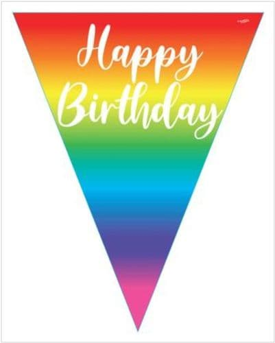 Party Bunting Rainbow Script Birthday 11 flags 3.9m