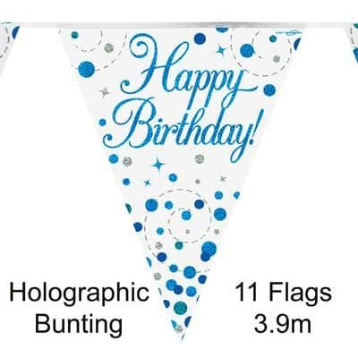 Party Bunting Sparkling Fizz Birthday Blue Holographic 11 flags 3.9m