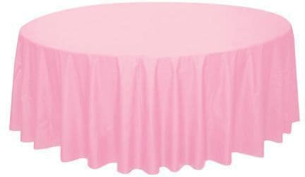 PASTEL PINK ROUND PLASTIC TABLECOVER