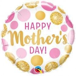 """PINK & GOLD DOTS MOTHER'S DAY 18"""" PKT"""