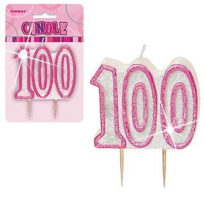 """PINK NUMERAL """"100"""" GLITTER NUMERAL AGE BIRTHDAY CANDLES"""