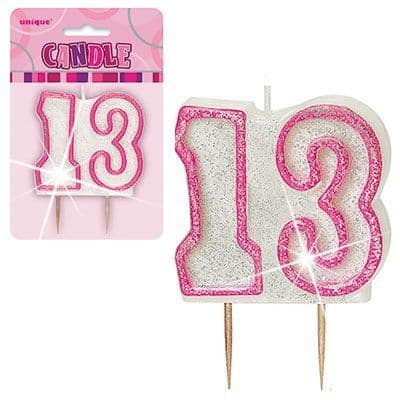 """PINK NUMERAL """"13"""" GLITTER NUMERAL AGE BIRTHDAY CANDLES"""