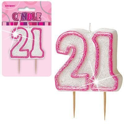 """PINK NUMERAL """"21"""" GLITTER NUMERAL AGE BIRTHDAY CANDLES"""