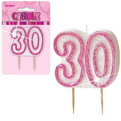 """PINK NUMERAL """"30"""" GLITTER NUMERAL AGE BIRTHDAY CANDLES"""