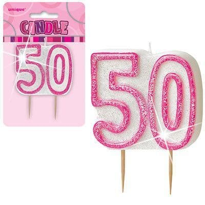 """PINK NUMERAL """"50"""" GLITTER NUMERAL AGE BIRTHDAY CANDLES"""