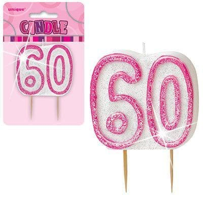 """PINK NUMERAL """"60"""" GLITTER NUMERAL AGE BIRTHDAY CANDLES"""