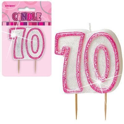 """PINK NUMERAL """"70"""" GLITTER NUMERAL AGE BIRTHDAY CANDLES"""