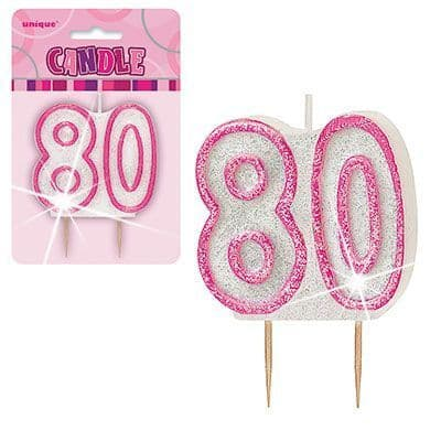 """PINK NUMERAL """"80"""" GLITTER NUMERAL AGE BIRTHDAY CANDLES"""