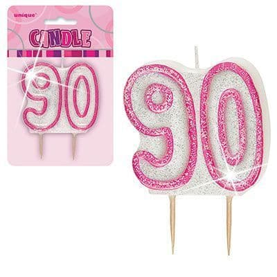 """PINK NUMERAL """"90"""" GLITTER NUMERAL AGE BIRTHDAY CANDLES"""
