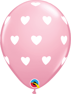 "Qualatex 11"" Big Hearts Pink 6ct"
