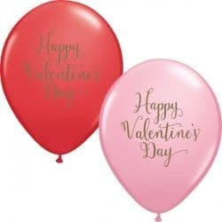 "Qualatex 11"" Happy Valentine's Day Script Red&Pink 25ct"
