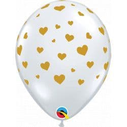 "Qualatex 11"" Random Hearts Daimond Clear w/ Gold Ink 25ct"