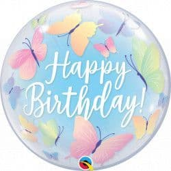 "QUALATEX 22"" SINGLE BUBBLE BIRTHDAY SOFT BUTTERFLIES"