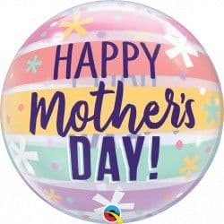 """Qualatex 22"""" Single Bubble Pastel Sttipes Mother's  Day Packaged"""