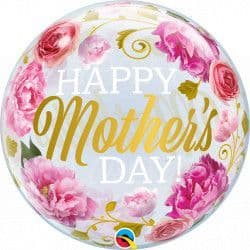 """Qualatex 22"""" Single Bubble Pink Peonies Mother's Day Packaged"""