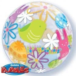 "Qualatex 22"" Single Bubble Spring Bunnies and Flowers Packaged"