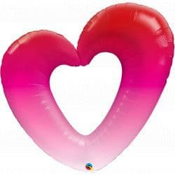 """Qualatex 42"""" Group C Shape Ombre Pink Heart Packaged"""
