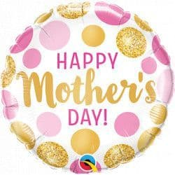 """QUALATEX 9"""" PINK & GOLD DOTS MOTHERS DAY  FLAT (REQUIRES HEATSEALING)"""