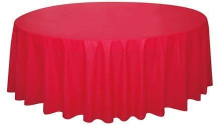 RED ROUND PLASTIC TABLECOVER