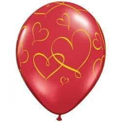 "ROMANTIC HEARTS 11"" RUBY RED (25CT)"