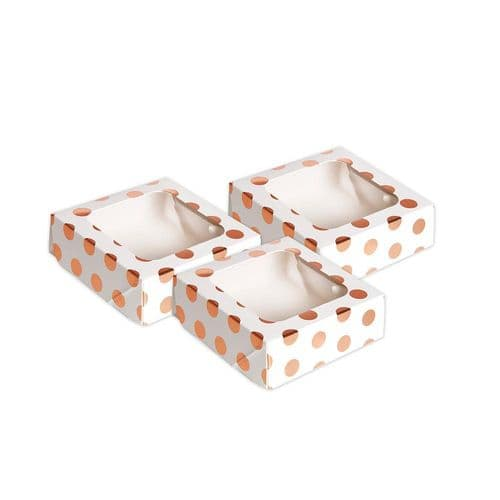 Rose Gold Polka Dot Small Square Treat Boxes with Window Foil