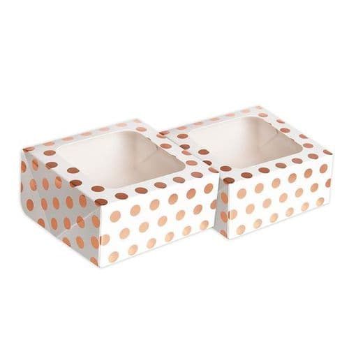 Rose Gold Polka Dot Square Treat Boxes with Window Foil