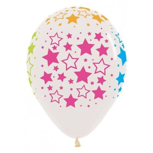 "SEMPERTEX NEON BOLD STARS 11"" CLEAR"