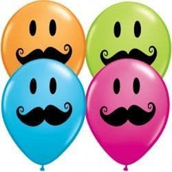 "SMILE FACE MUSTACHE 5"" ORANGE, ROBIN'S EGG BLUE, WILD BERRY & LIME GREEN (100CT)"