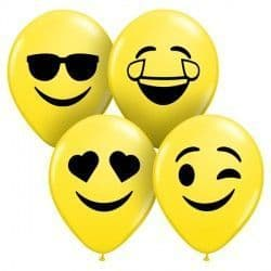 "SMILE FACES ASSORTMENT 5"" YELLOW (100CT)"