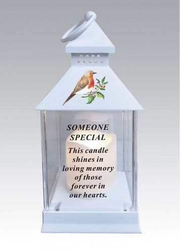 Someone Special battery operated robin lantern with timer and waterproof battery cover..