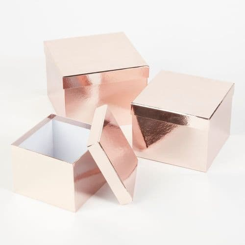 Square Sheen Hat Boxes (Lined) - Set of 3 rose gold