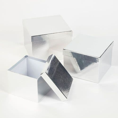Square Sheen Hat Boxes (Lined) - Set of 3 SILVER