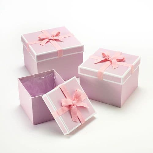 SQUARE STEPHY HAT BOXES X3 LND
