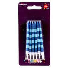 Straight Stripes Candles Blues (x12) - Pack of 6