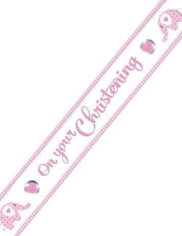 SWEET ELEPHANT ON YOUR CHRISTENING PINK FOIL BANNER